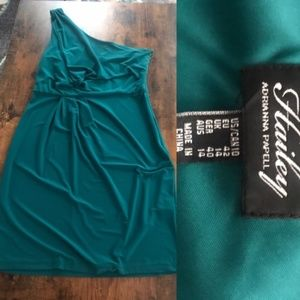 One Shoulder Teal Adrianna Papell dress